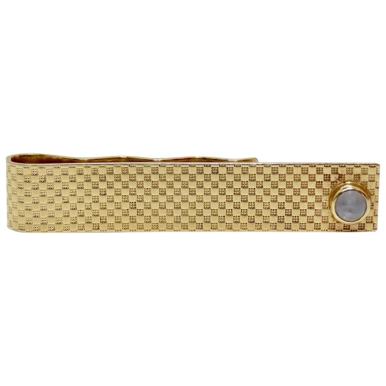 14k Checkered Gold Star Sapphire Tie Slide Clip