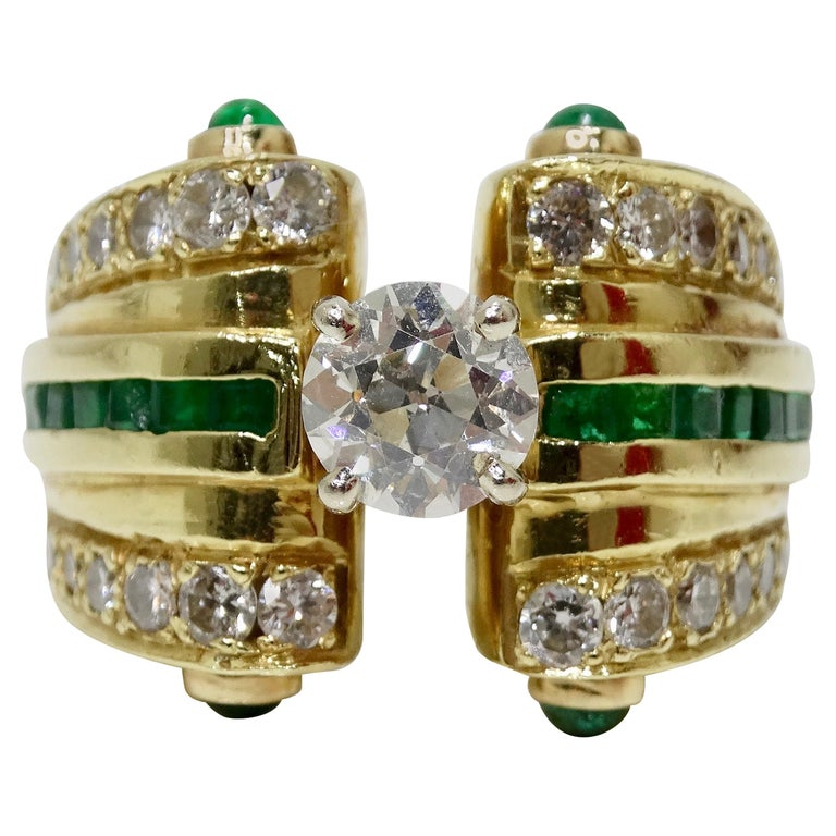 18k Gold Diamond & Emerald Cocktail Ring