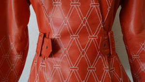 1980s Jean Claude Jitrois Diamond Pattern Leather Wrap Jacket
