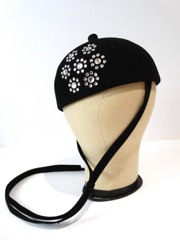 1960s Adolfo II Beret Hat with Floral Crystal Pattern