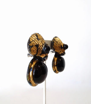 1980s Gold Gilt Clamshell Statement Earrings