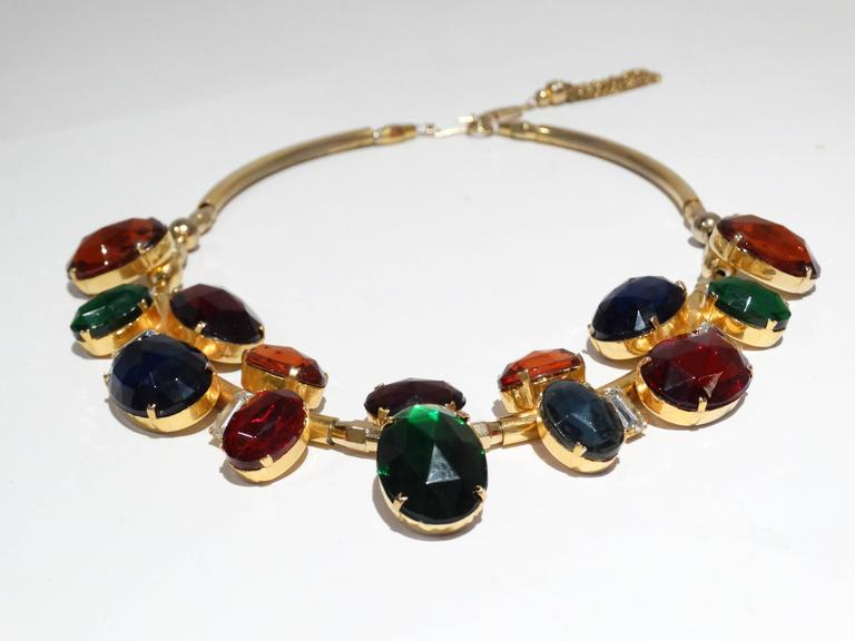 1980s Emilio Pucci Gem Collar Necklace