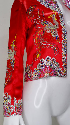 Dynasty 1960s Beaded Phoenix Satin Jacket
