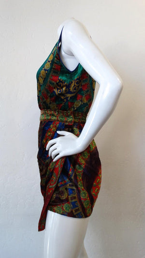 1980s Gianni Versace Scarf Print Skirt Set