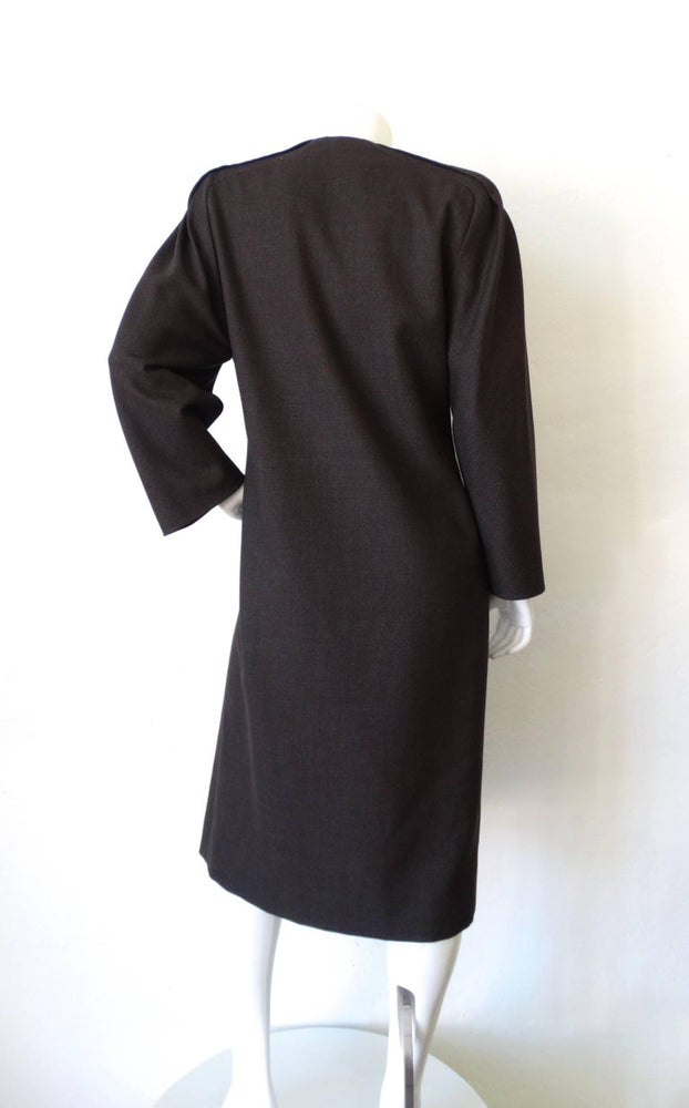 1980s Galanos Asymmetric Grey Coat Dress