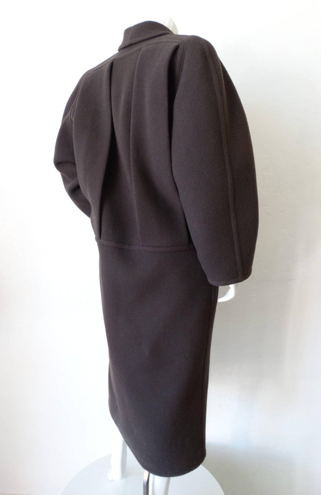 1980s Galanos Oversized Silhouette Grey Coat