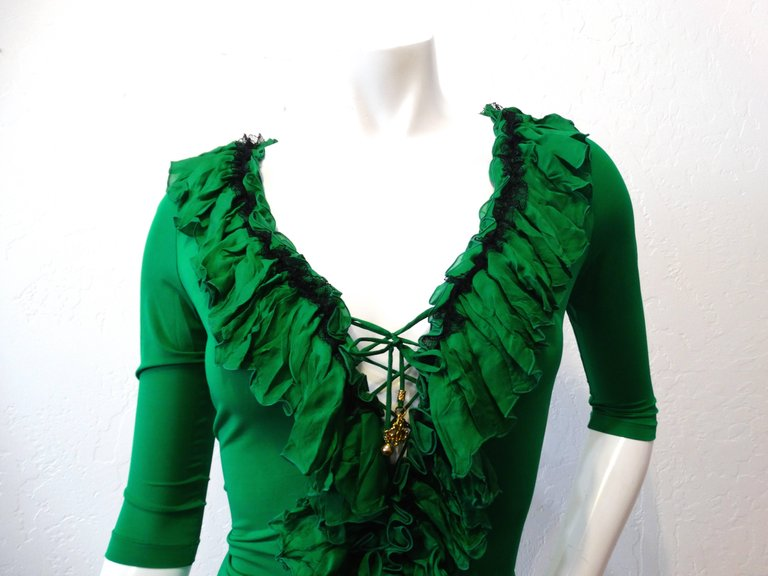 Roberto Cavalli Green Ruffle Corset Lace Up Top