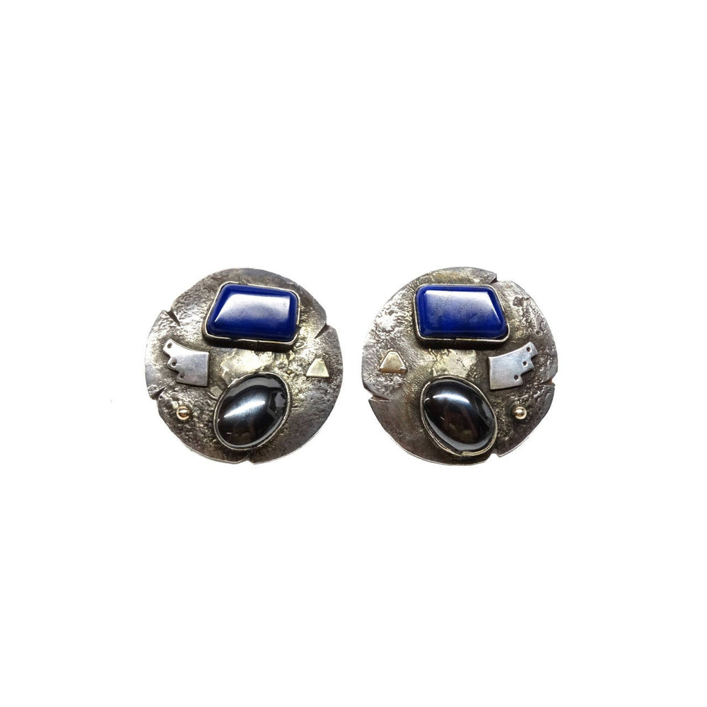 1980s Jolene A Eustace Cochiti Zuni 925/14K Gold Lapis Earrings