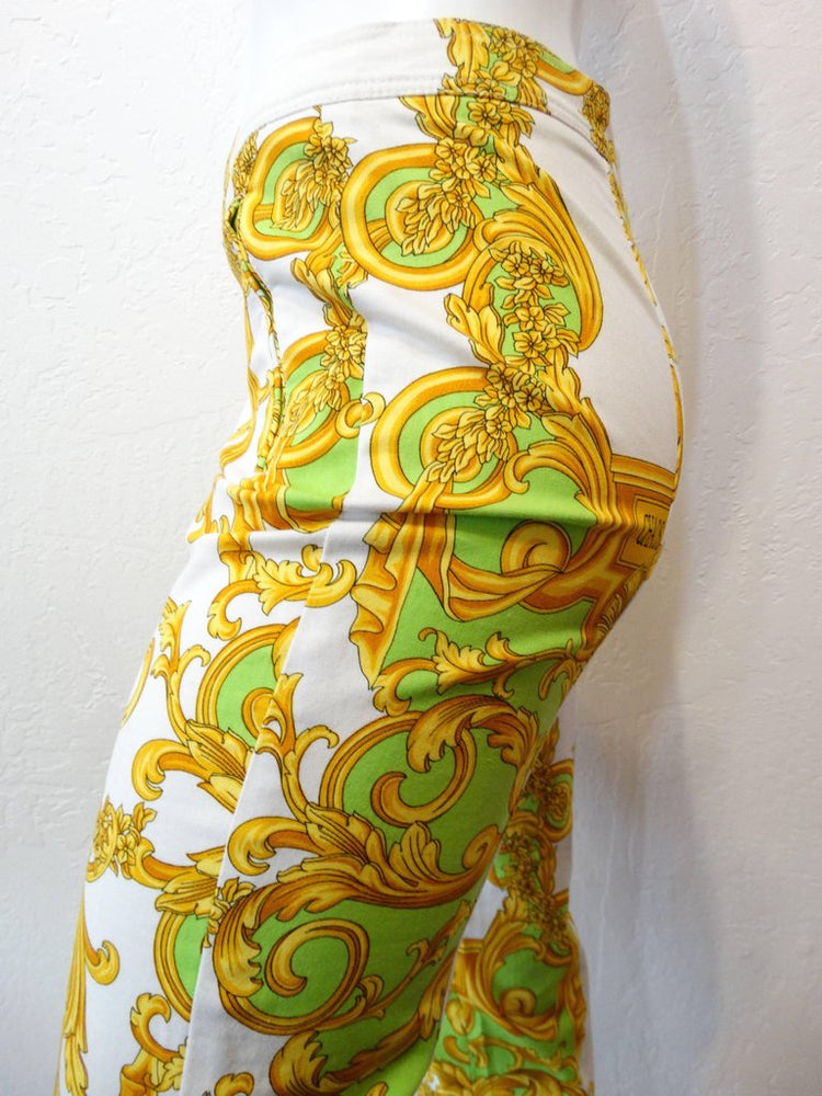 Versace Green and Gold Baroque Printed Pants