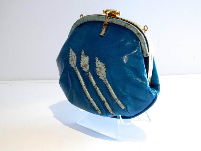1970s Nurhan Blue Leather Shoulder Bag