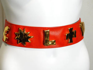 1990s Christian Lacroix Wide Red Iconic Gold Symbol Belt