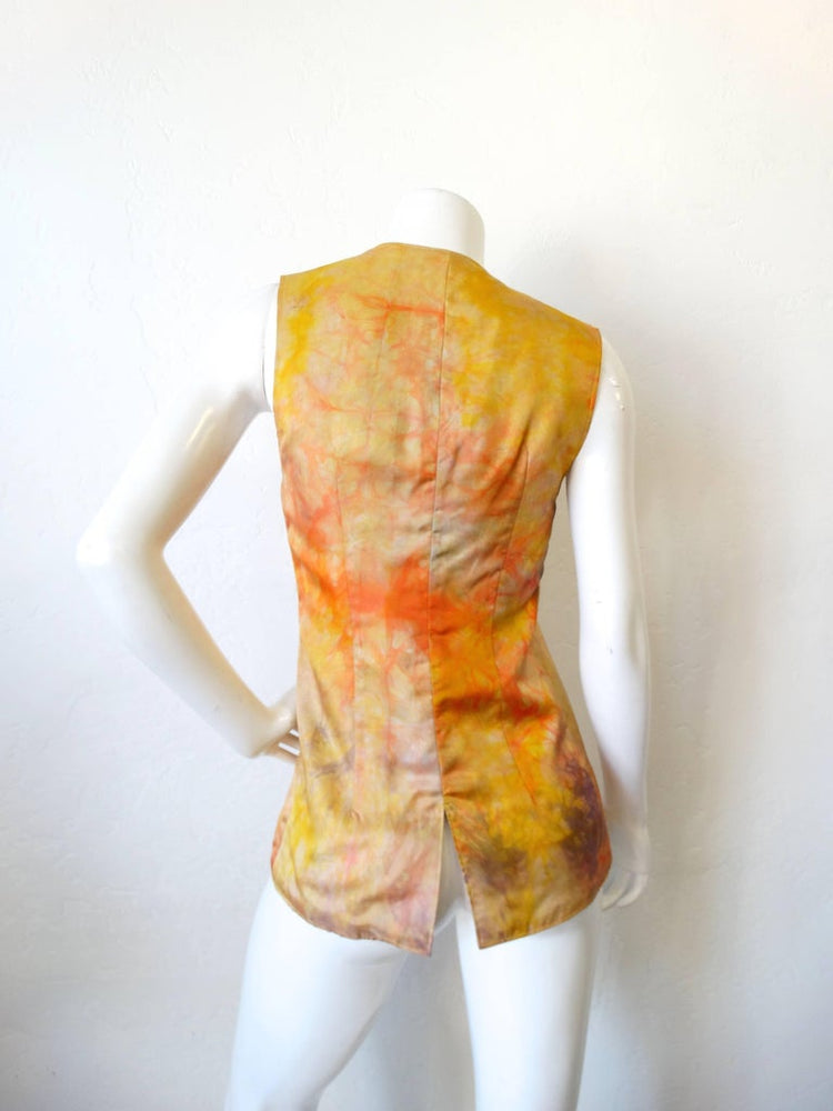 1970s Silk Tie Dye Embroidered Hippie Vest