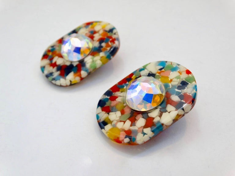 1980s Missoni Lucite Confetti Rhinestone Earrings