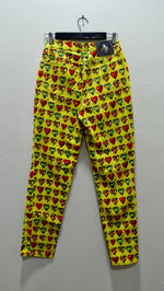 Gianni Versace Yellow Heart Print Jeans
