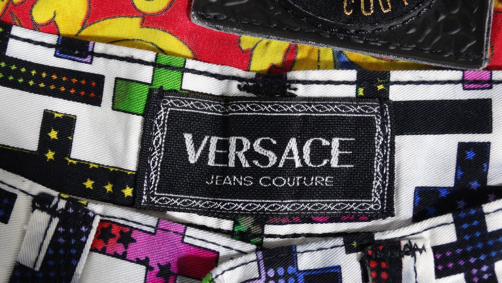 Gianni Versace Cross Print Jeans