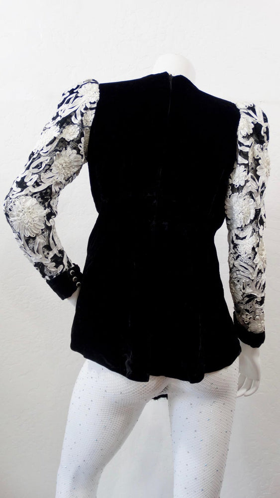 Floral Embroidered Velour Blouse
