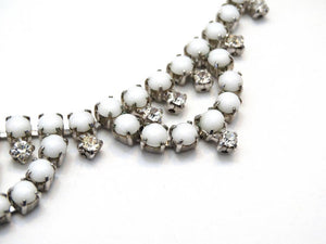 1960s White Rhinestone Choker Necklace