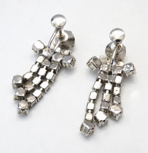 1960s White Rhinestone Dangle Screw Back Earrings