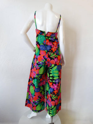 1960s Technicolor Floral Wide Leg Jumpsuit