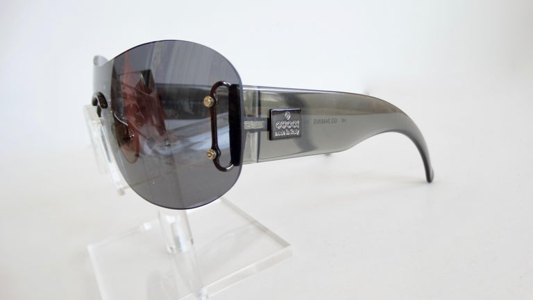 Gucci Black Rimless Shield Sunglasses
