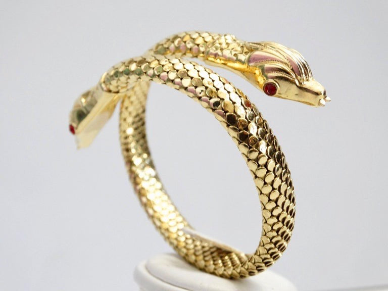 18 Karat Gold Double Headed Serpent Wrap-Around Bracelet