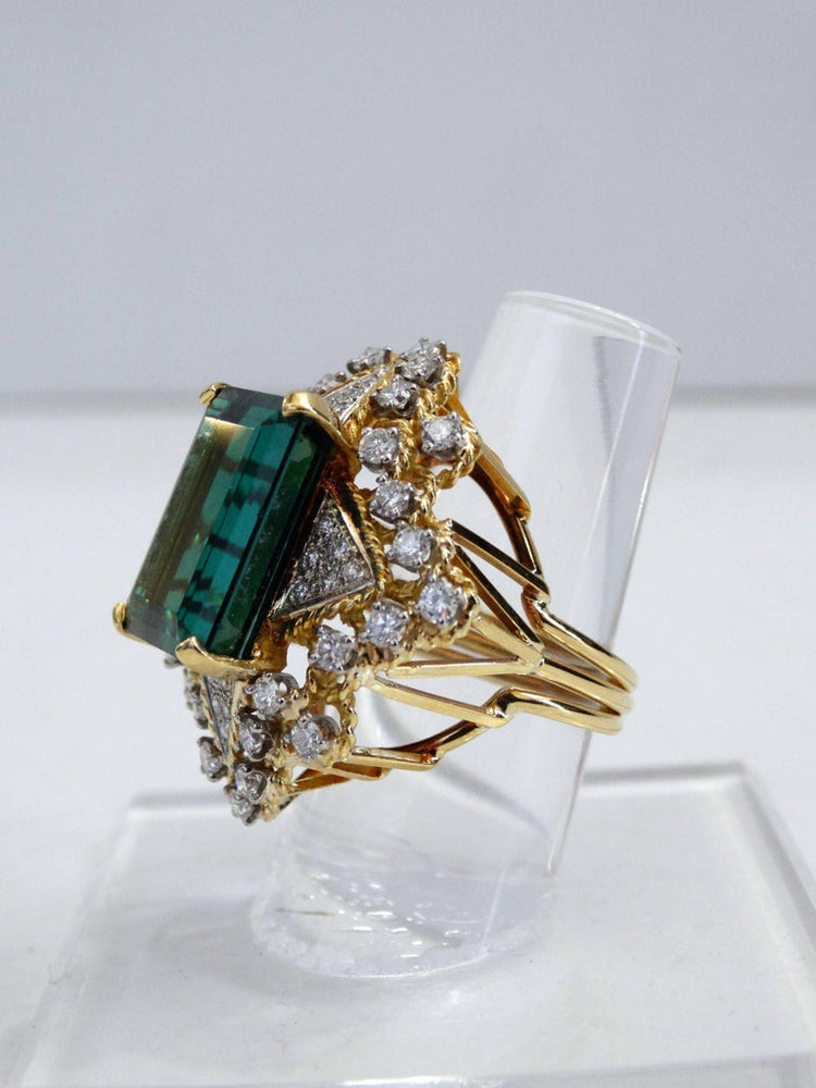 16 Carat Green Tourmaline Emerald Cut Diamond Cocktail Ring