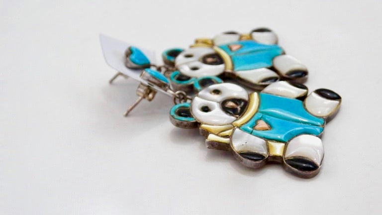 1980s Teddy Bear Zuni Turquoise Silver Earrings