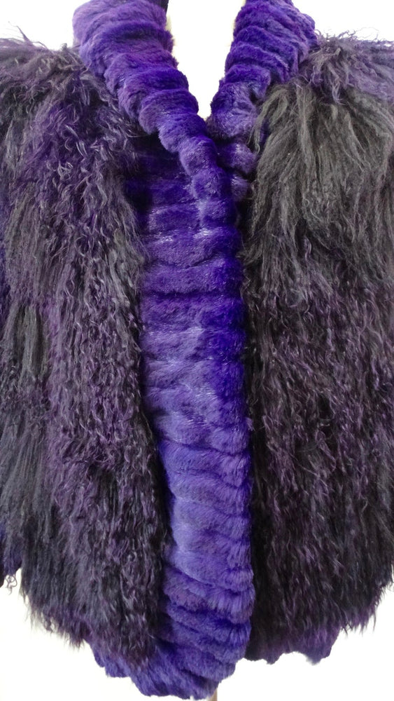 Purple Mongolian Lamb Oversized Fur Jacket