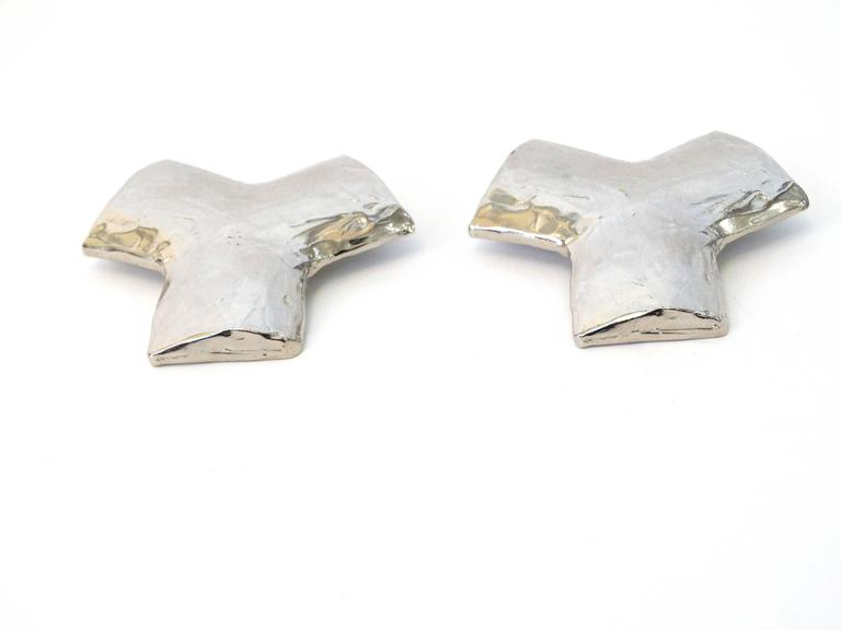 "Yves Saint Laurent "" Y"" Clip Earrings"