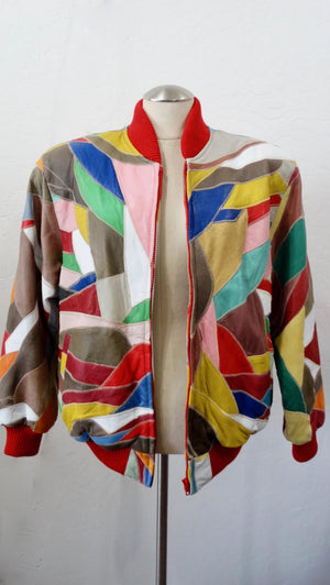 David Green Leather Appliqué Patchwork Bomber Jacket