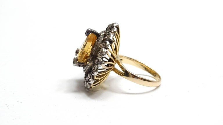 14k Victorian Gold Citrine Diamond Cocktail Ring
