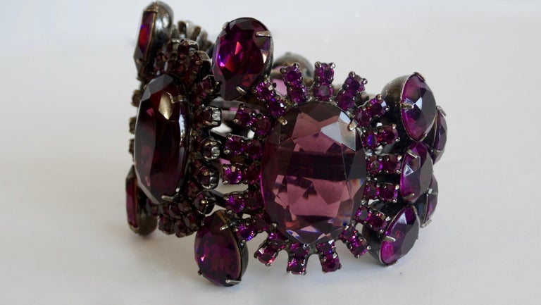 Alan Anderson Purple Rhinestone Art Deco Cuff