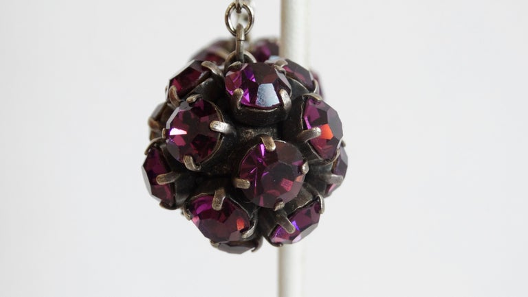 Alan Anderson Purple Rhinestone Ball Drop Earrings