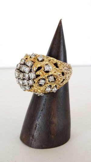 3 Carat Diamond Cluster Gold Nugget Ring