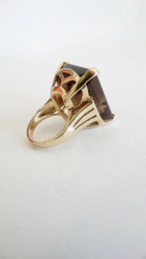 14K Yellow Gold Smoky Quartz Cocktail Ring