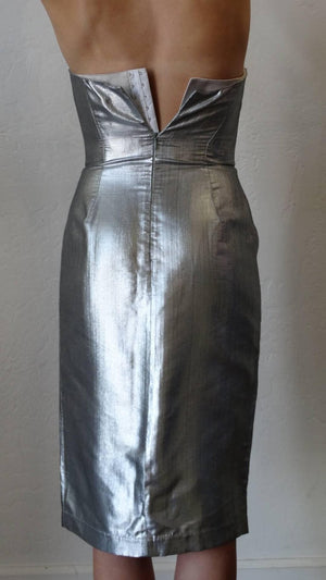 Spring 1989 Thierry Mugler Couture Silver Sculpture Dress