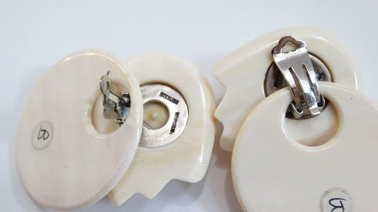 1970s Patricia Von Musulin Avant-garde Ivory Resin Earrings