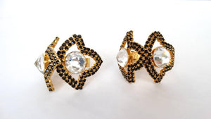 William De Lillo Black Rhinestone Hoop Clip Earrings