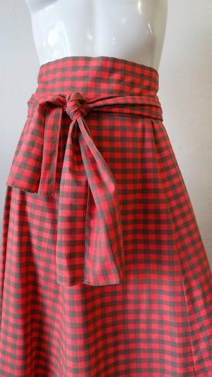 1970s Tartan High-waisted Maxi Skirt