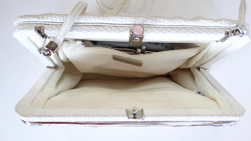 Judith Leiber White Lizard Skin Evening Clutch