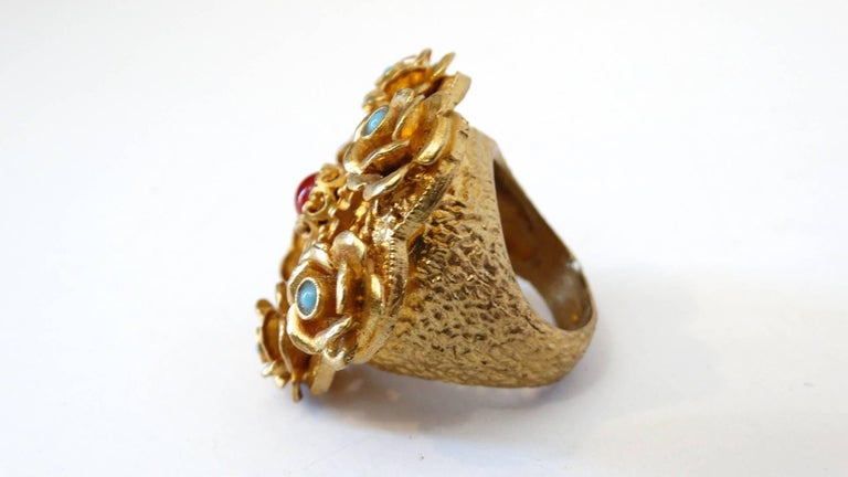Turkish Vermeil Coral and Turquoise Cocktail Ring