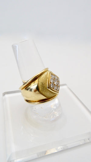 Leo de Vroomen 1980s 18k Gold Ring With Diamond Cluster