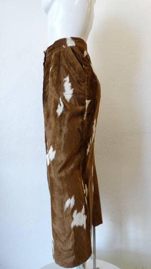 1990s Faux Cowhide Fuzzy Pencil Skirt