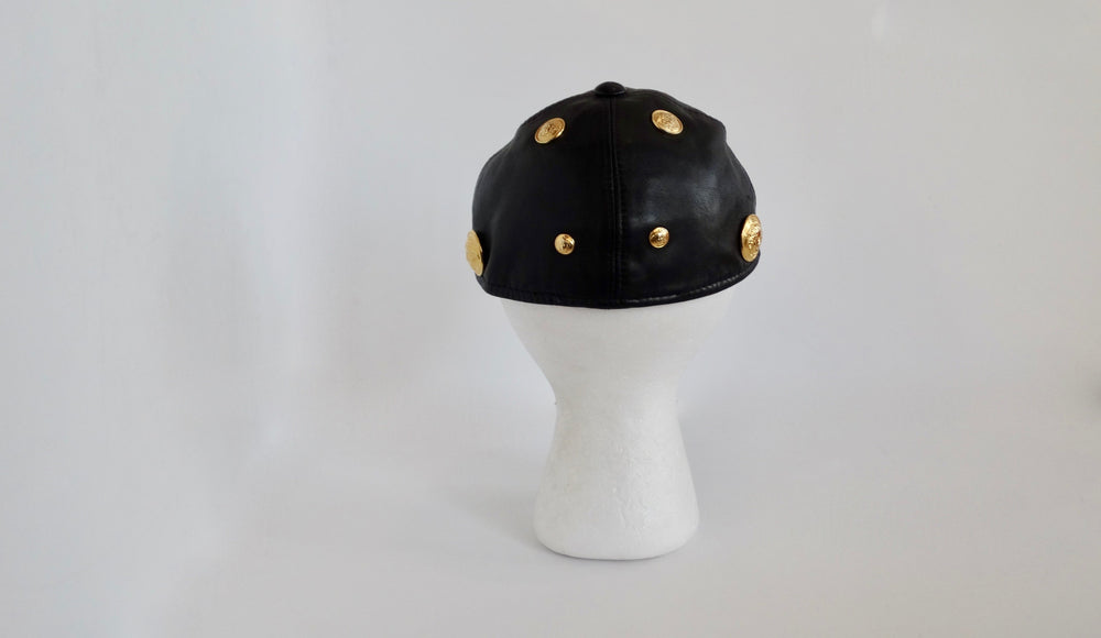 Gianni Versace Black Leather Medusa Hat