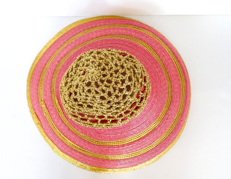 Eric Javits Pink and Gold Metallic Striped  Crochet Crown Hat