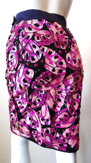 Escada 80s Couture Butterfly Sequin Skirt