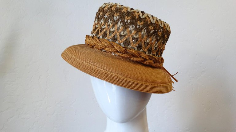 1960s Yves Saint Laurent Woven Straw Boater Hat