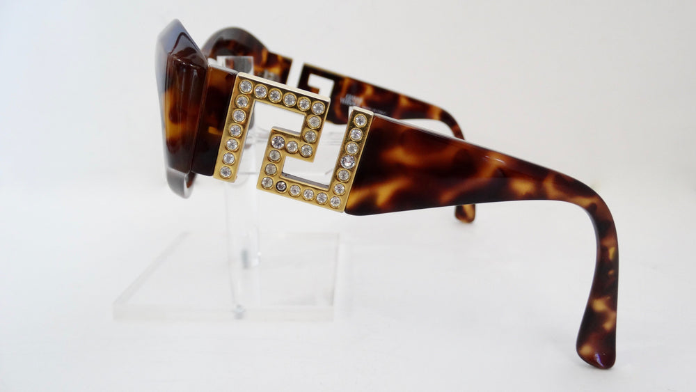Gianni Versace Greek Key Tortoise Sunglasses