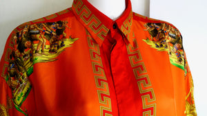 "Gianni Versace ""Native American"" Print Silk Shirt"