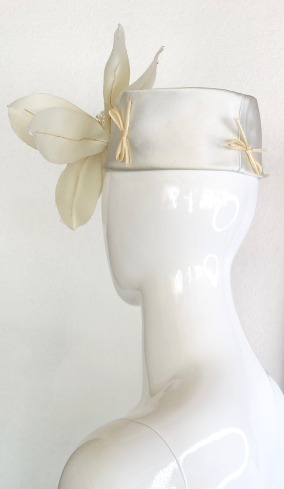 Yves Saint Laurent Silk Floral Pill-Box Head Piece